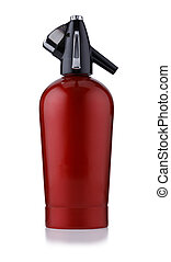A retro style red metal soda siphon, isolated on white