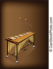 Music Instrument, An Illustration of Vintage Vibraphone and Two Beater on Beautiful Dark Brown Background with Copy Space for Text Decorated