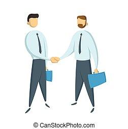 a, reunião, de, dois, homens negócios, e, negócio, handshake., apartamento, vetorial, illustration., isolado, branco, experiência.