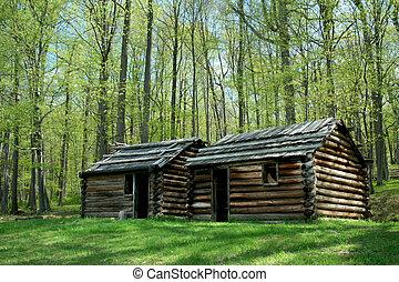 Revolutionary War troop cabins - A Revolutionary War troop...