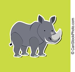 A rhinoceros character sticker