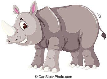 A rhinoceros on white background