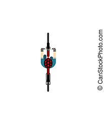 A ride on the bicycle. View from above. Vector illustration on a white isolated background. Flat style.