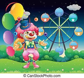 a, riesenrad, und, der, clown, mit, luftballone