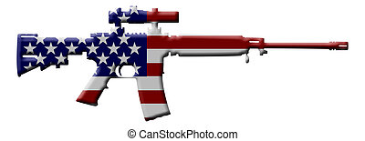 Rifle weapon in the USA - A rifle in the USA flag colors, ...