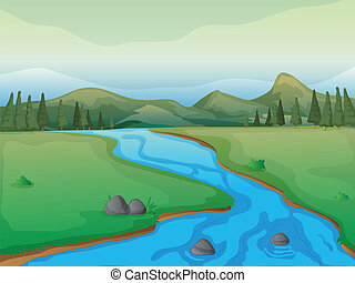 A river, a forest and mountains - Illustration of a river, a...