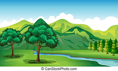 A river and a beautiful landscape - Illustration of a river...