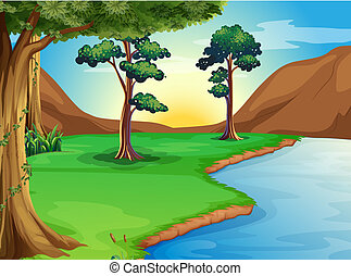 A river at the forest - Illustration of a river at the ...