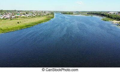 river Matyra in Gryazi city in Russia, aerial survey - A...