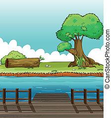 A riverbank view - Illustration of a riverbank view