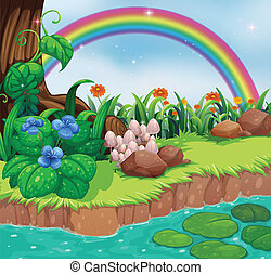 A riverbank with flowers and a rainbow - Illustration of a...
