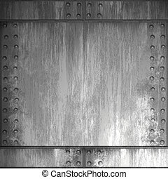 A riveted steel background. It can be used as a frame or border, or tiled as a seamless pattern.