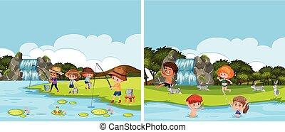 a, rivière, activité, scène