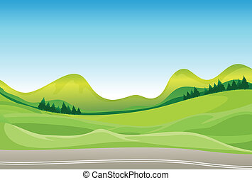A road and a beautiful landscape - Illustration of a road...