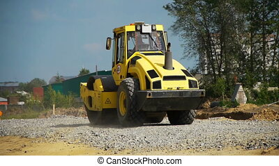 road construction - a road construction by a yellow road ...