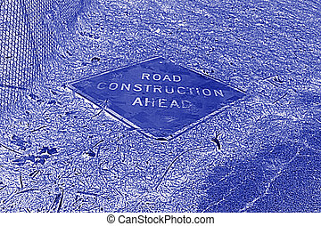 A road construction sign in a x-ray film style