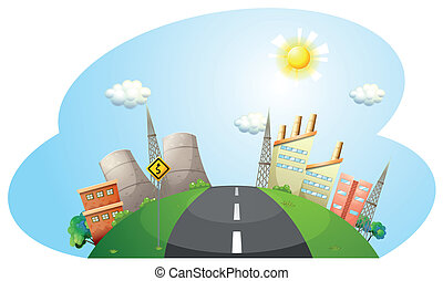 A road going to the city with factories