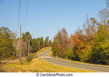 A road in the country with Fall colors and blue skies