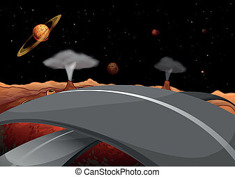 A road in the outer space