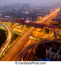 A road junction at evening in changsha ,china