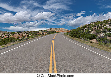 A road leading into the Bighorn Mountain Recreation Area in Northern Wyoming.