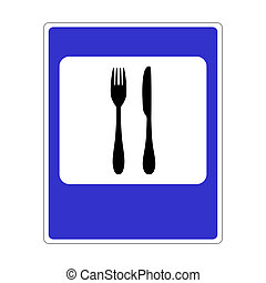 A road sign with a picture of cutlery