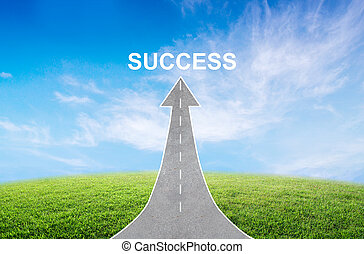 A road turning into an arrow rising upward with a road sign of success, symbolizing the direction to success.