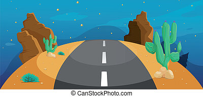 A road with cactus