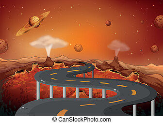 A road with planets in the outer space - Illustration of a...