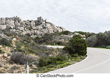 a road with rocks and nature on maddalena island