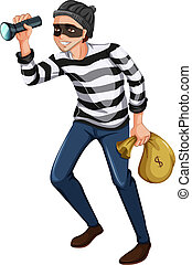 Illustration of a robber with a flashlight and a bag on a white background