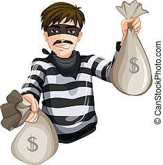 Illustration of a robber with two sacks of cash on a white background