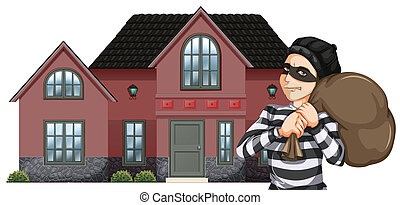 A robbery - Illustration of a robbery on a white background