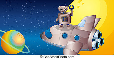 A robot above the spaceship in the outerspace