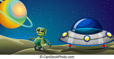 A robot beside a flying saucer - Illustration of a robot...