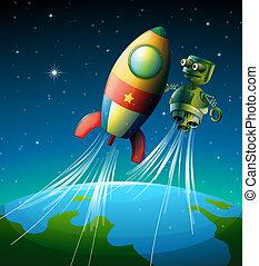 A robot beside a spaceship - Illustration of a robot beside...