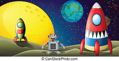 A robot between two spaceships at the outerspace -...