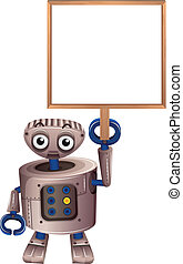 A robot holding an empty board