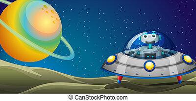 A robot inside a spaceship