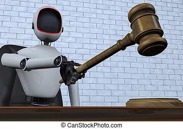 a robot judge makes a judgment