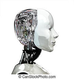 a, robot, kvinna, head.