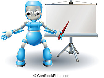 A robot mascot character presenting on roller screen - Robot...