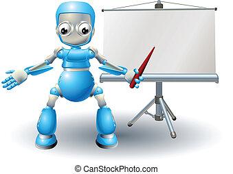 A robot mascot character presenting on roller screen - Robot...