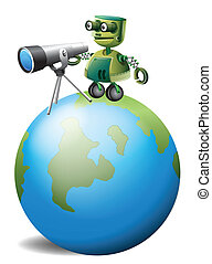 A robot with a telescope above the globe