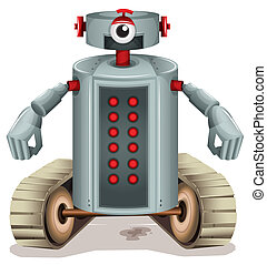 A robot with red buttons