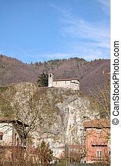 a, rocca, em, país, nozza, com, medieval, igreja