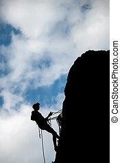 a, rock bergsbestigare, nedåt, från, den, topp