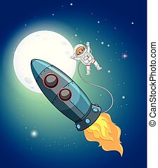A rocket and astronaut in space