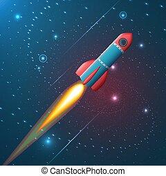 A rocket flying in space