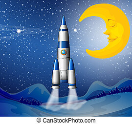 A rocket going to the sky with a sleeping moon - ...